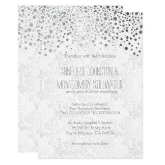 Stylish Silver Confetti Dots | White Invitation