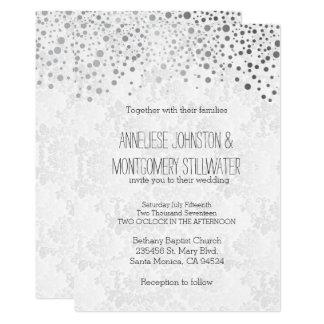 Stylish Silver Confetti Dots | White Texture Card