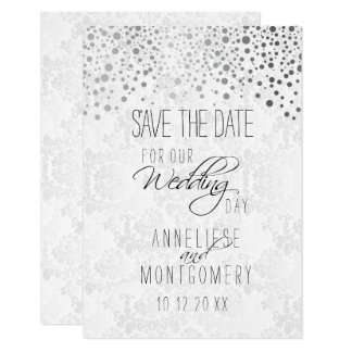 Stylish Silver Confetti Dots | White Texture Card