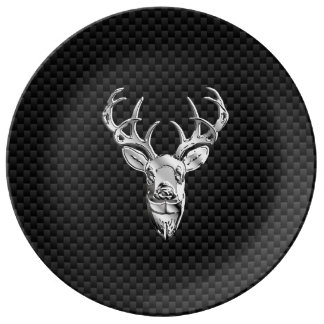 Stylish Silver Deer on Carbon Fiber Dinner Plate