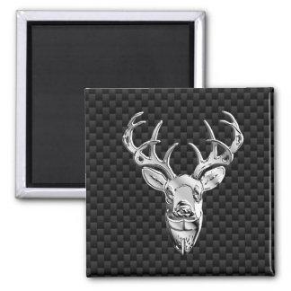 Stylish Silver Deer on Carbon Fiber Magnet