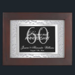 """Stylish Silver Diamonds 60th Wedding Anniversary Keepsake Box<br><div class=""""desc"""">Beautiful, glamorous trendy, modern, romantic and sophisticated design for couple's 60th wedding anniversary party events. Elegant and glamorous fabulous sixtieth anniversary. With a beautiful fancy printed image of beautiful silver rhinestone jewel diamonds decoration border frame, in stunning silver colors all printed on a glamorous silver gradient background, your event details...</div>"""