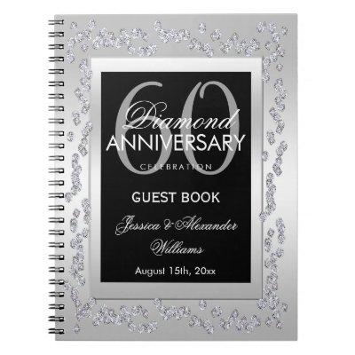Stylish Silver Diamonds 60th Wedding Anniversary Notebook