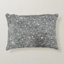 Stylish Silver Glitter Glitz Photo Accent Pillow
