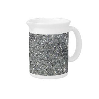 Stylish Silver Glitter Glitz Photo Drink Pitchers