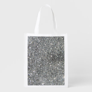 Stylish Silver Glitter Glitz Photo Grocery Bag