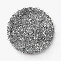 Stylish Silver Glitter Glitz Photo Paper Plate