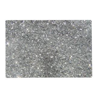 Stylish Silver Glitter Glitz Photo Placemat