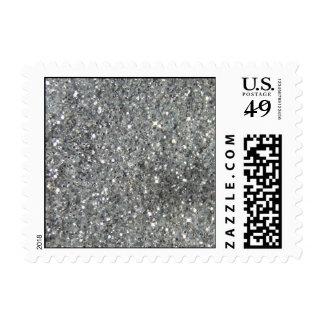 Stylish Silver Glitter Glitz Photo Postage