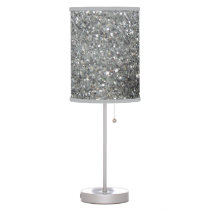 Stylish Silver Glitter Glitz Photo Table Lamp