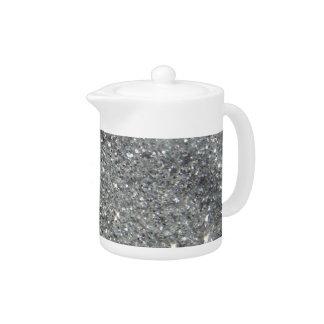 Stylish Silver Glitter Glitz Photo Teapot