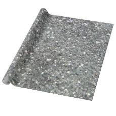 Stylish Silver Glitter Glitz Photo Wrapping Paper