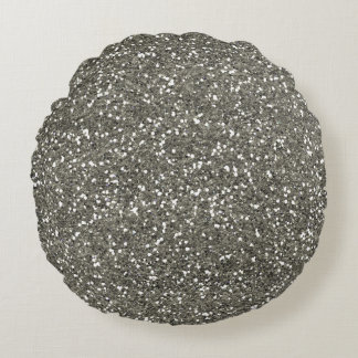 Stylish Silver Glitter Round Pillow