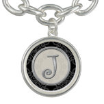 Stylish Silver Initial J Monogram Charm Bracelets