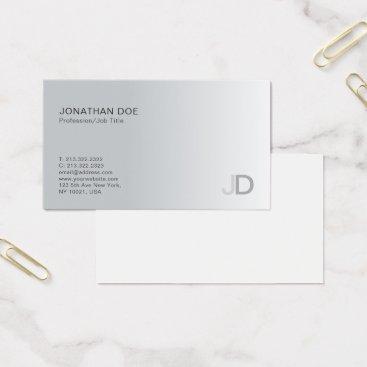 Lawyer Themed Stylish Silver Modern Professional Monogram Plain Business Card