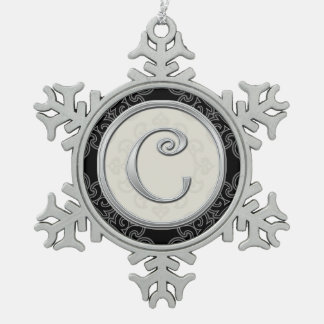 Stylish Silver Monogram  C Christmas Snowflake Pewter Christmas Ornament