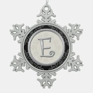 Stylish Silver Monogram  E Christmas Snowflake Pewter Christmas Ornament