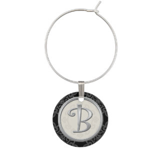 Stylish Silver Monogram Initial B Wine Charm