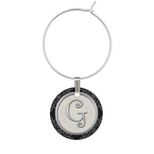 Stylish Silver Monogram Initial G Wine Charm