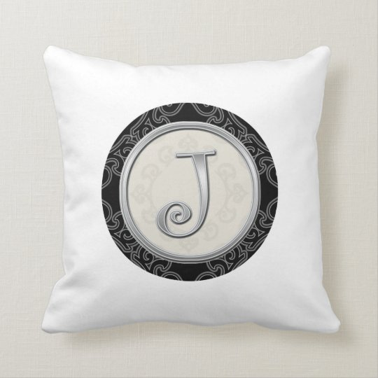 Stylish Silver Monogram Initial J Throw Pillow