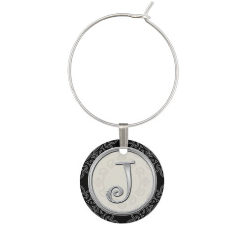Stylish Silver Monogram Initial J Wine Charms