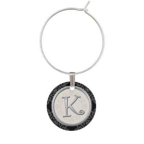 Stylish Silver Monogram Initial K Wine Charm