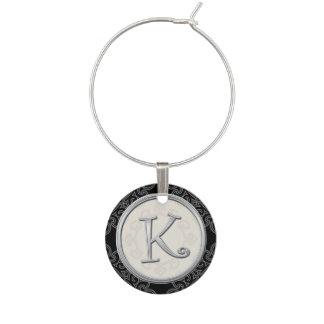 Stylish Silver Monogram Initial K Wine Glass Charm