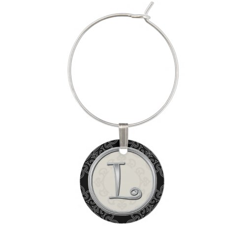Stylish Silver Monogram Initial L Wine Charm