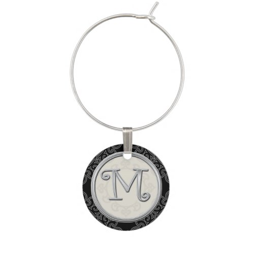 Stylish Silver Monogram Initial M Wine Charms