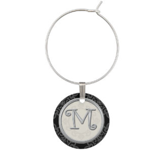 Stylish Silver Monogram Initial M Wine Glass Charm
