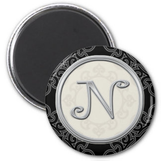 Stylish Silver Monogram Initial N 2 Inch Round Magnet