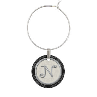 Stylish Silver Monogram Initial N Wine Charm