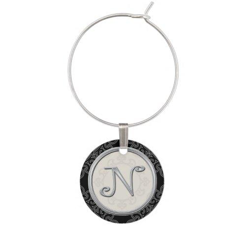 Stylish Silver Monogram Initial N Wine Charm