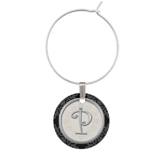 Stylish Silver Monogram Initial P Wine Glass Charm