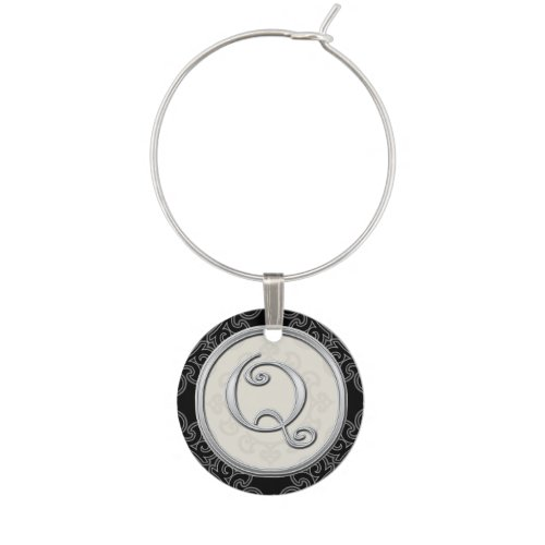 Stylish Silver Monogram Initial Q Wine Glass Charms