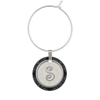 Stylish Silver Monogram Initial S Wine Glass Charm