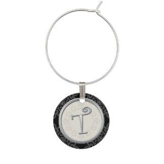 Stylish Silver Monogram Initial T Wine Charm