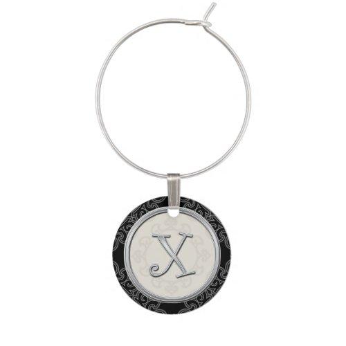 Stylish Silver Monogram Initial X Wine Glass Charms