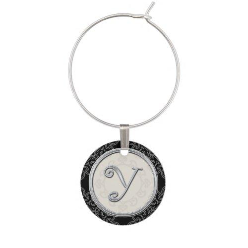 Stylish Silver Monogram Initial Y Wine Charm