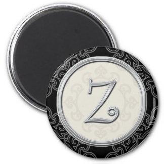 Stylish Silver Monogram Initial Z 2 Inch Round Magnet