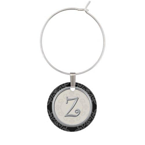 Stylish Silver Monogram Initial Z Wine Charms
