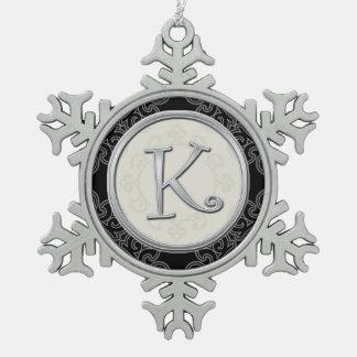 Stylish Silver Monogram  K Christmas Snowflake Pewter Christmas Ornament