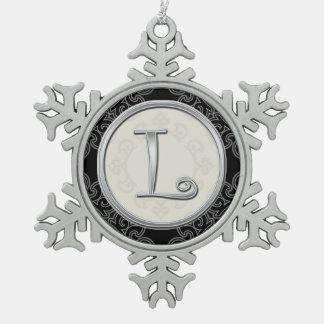 Stylish Silver Monogram  L Christmas Snowflake Pewter Christmas Ornament