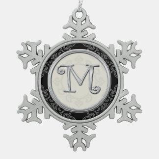 Stylish Silver Monogram  M Christmas Snowflake Pewter Christmas Ornament