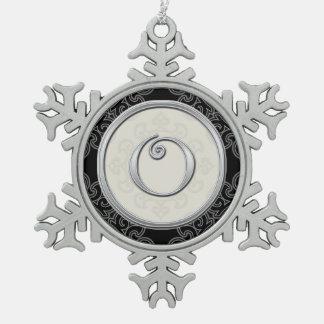 Stylish Silver Monogram O Christmas Snowflake Pewter Christmas Ornament