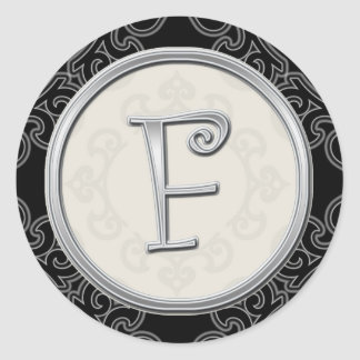 Stylish Silver Monogram Stickers::Initial F Seal