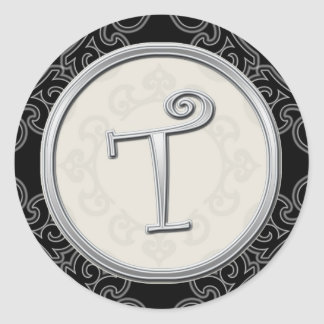 Stylish Silver Monogram Stickers::Initial T Seal
