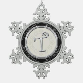 Stylish Silver Monogram T Christmas Ornament