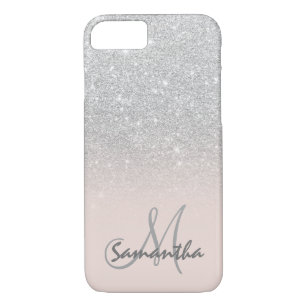 1692c13b3b8d Stylish silver ombre pink block personalized iPhone 8/7 case
