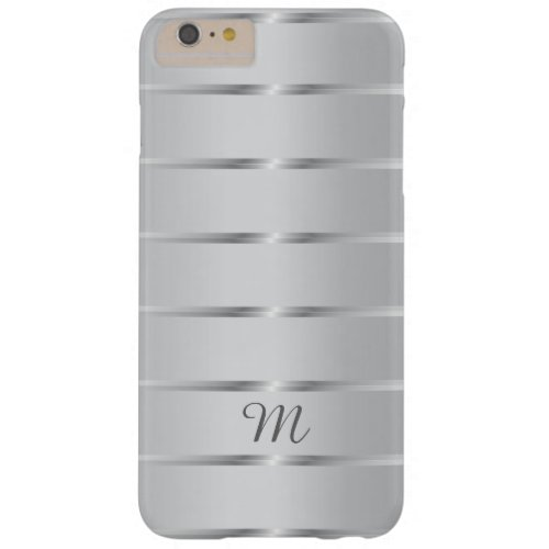 Stylish Silver Stripes Custom Monogram Barely There iPhone 6 Plus Case